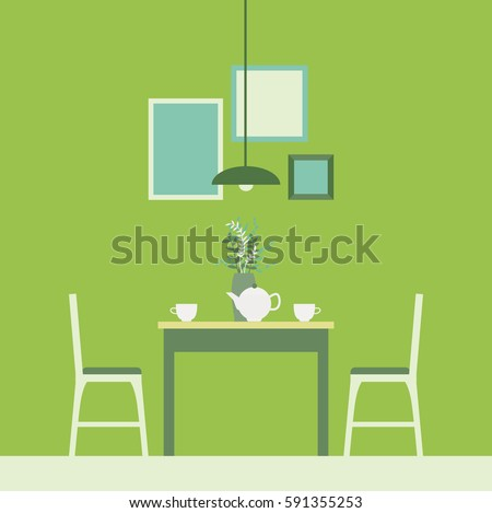 The Interior Of The Dining Room.Dining Table And Two Chairs,