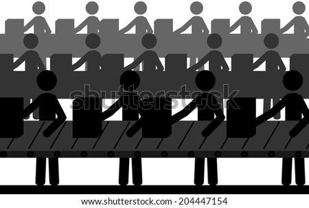 Vector , illustration. The men are working in a factory on conveyor belt. - stock vector