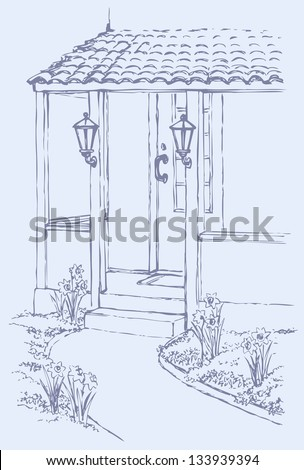 Vector illustration. The path leading to the front porch cozy home, surrounded by flowers - stock vector