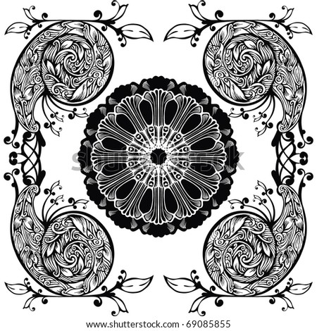 Vector illustration - the pattern in the Rococo and Baroque styles with elements of flowers and leaves - stock vector