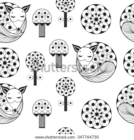 Vector illustration. The pattern with fox forest mushrooms and flowers. Black-and-white graphics. - stock vector