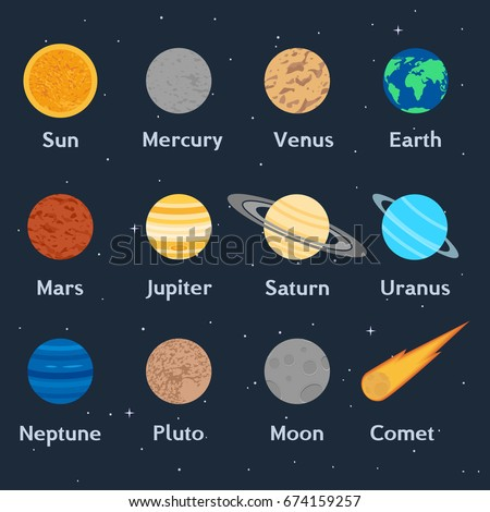Set planets solar system cartoon style flat icon stock vector image - Pluto Stock Images Royalty Free Images Amp Vectors
