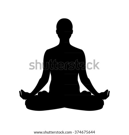 Vector illustration the sign of a man or woman silhouette meditating. Practicing yoga. Yoga lotus pose, women wellness concept.  - stock vector