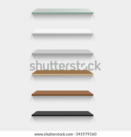Vector illustration; The space above, Set of Empty  Glass, Plastic,  Metal,  Wood and granite Shelves of the background wall. For product display and advertising and promotional purposes. - stock vector