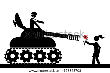 Vector / illustration. The tank aims the girl that is holding a flower. - stock vector