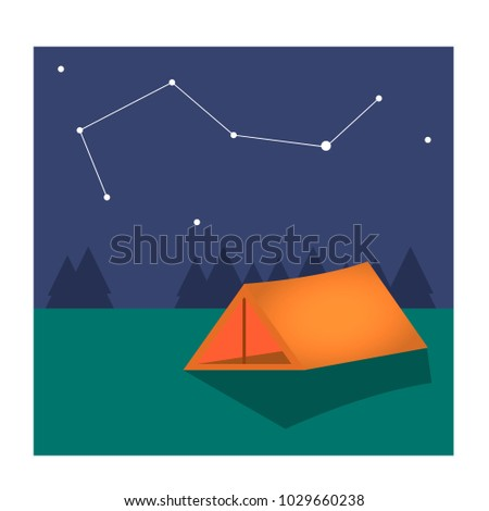 vector illustration:  there is a tent under the constellation tent
