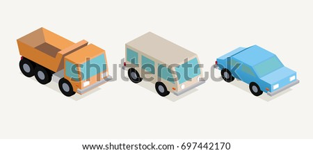 Vector illustration Three cars in isometric style in retro style