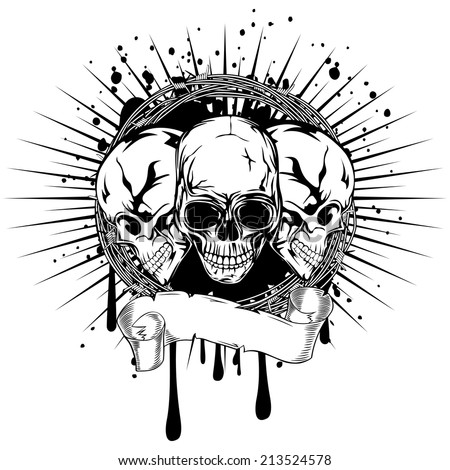 Vector illustration three human death skulls with barbwire  - stock vector