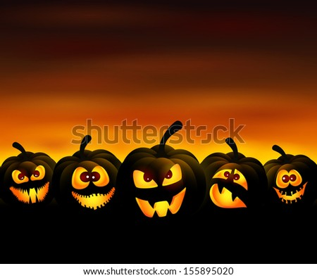 Vector illustration to Halloween with funny pumpkins at sunset - stock vector