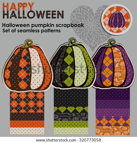 Vector illustration to the Halloween fun pumpkins isolated. Halloween pumpkin scrapbook. - stock vector