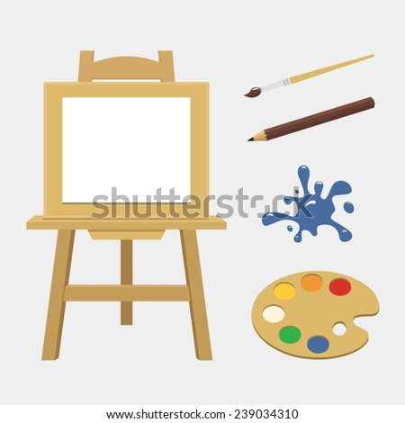 Vector illustration tools of the artist set - stock vector
