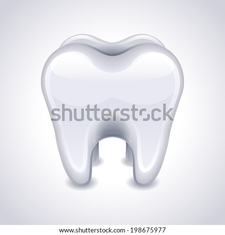 Vector illustration - tooth on white background
