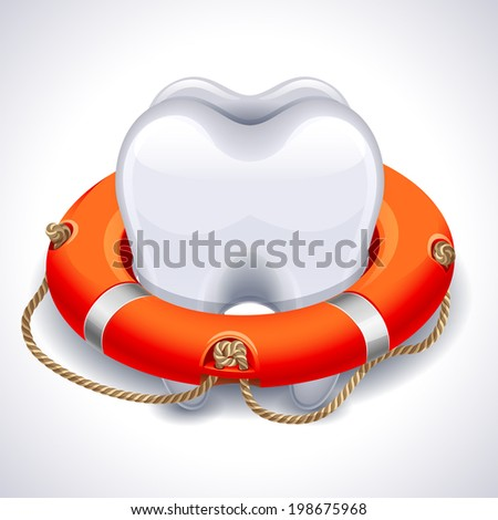 Vector illustration - tooth with lifebuoy - stock vector