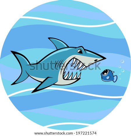 Vector illustration, toothy white shark and fish - stock vector