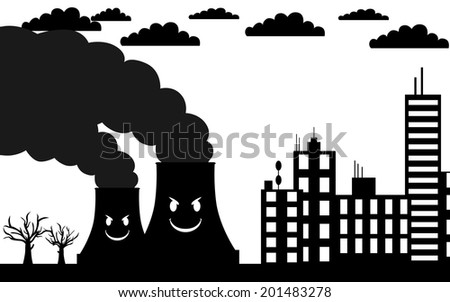 Vector , illustration. Towers pollute nature. The trees are dead.  - stock vector