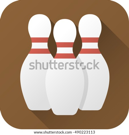 Vector illustration. Toy bowling pin in flat design with long shadow. Square shape icon in simple design. Icon vector size 1024 corner radius 180