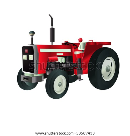 vector illustration, tractor, card concept, white background