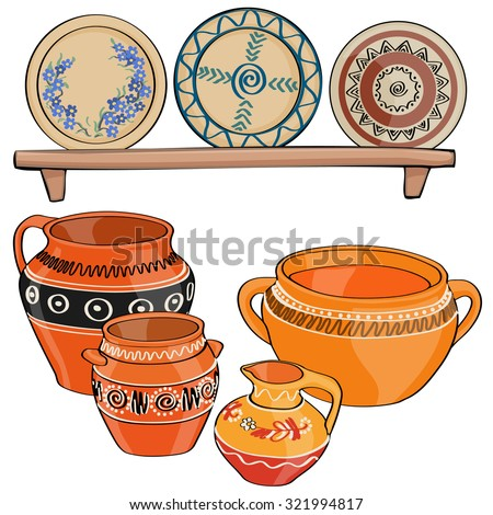 Vector illustration, traditional ceramics, cartoon concept, white background.