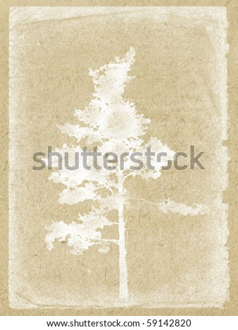 vector illustration tree on old paper - stock vector