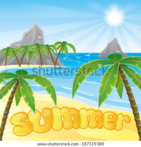 Vector illustration. Tropical beach. - stock vector