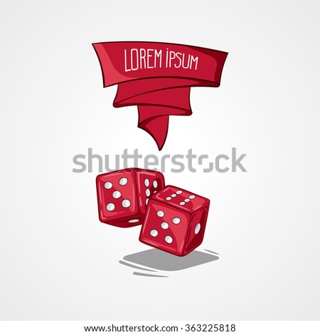 Vector illustration two dice. Symbol of gambling and luck. Game in casino. Handdrawing symbol - stock vector