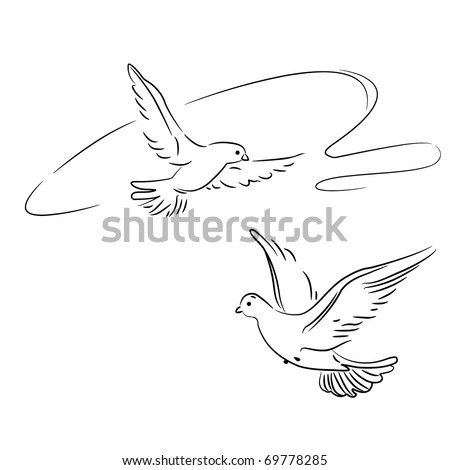 Vector illustration.Two doves (pigeons) in flight, as a symbol of love or peace. Outline. Drawn a brush.  Isolated on white - stock vector