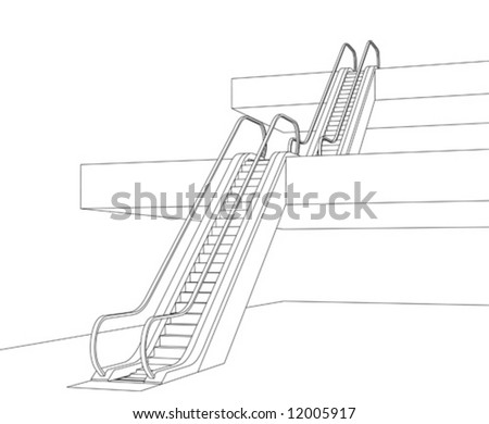 Vector illustration. Two escalators going up two floors. - stock vector