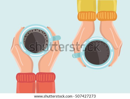 Vector illustration two friends drinking coffee. Tea Coffee Break, Cup Mug, Top view of table in cafe. Woman friendship in autumn. Friendly support in difficult times, woman conversation coffee house