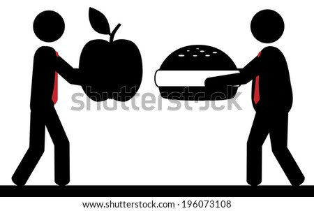 Vector / illustration. Two men present their favorite food. - stock vector