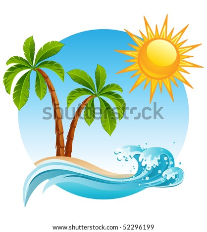 Vector illustration - Two palm-tree  on the tropical island - stock vector