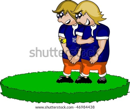 Vector illustration: two soccer defenders are waiting for penalty  kick. - stock vector
