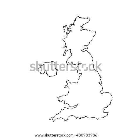 Vector Illustration Uk Map Outline Drawing Stock Vector - United kingdom map vector