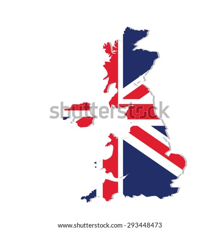 Vector illustration uk map with flag. England map. United Kingdom of Great Britain. Uk map counties
