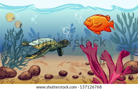 vector illustration. underwater world with marine animals. vector illustration. underwater world with marine animals. fish, shell, jellyfish - stock vector
