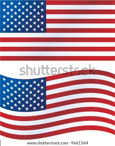 Vector illustration: United States flag, includes waving version - stock vector