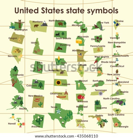 vector illustration  / united states of america symbols on the map / states shapes with connected names and symbolics - stock vector