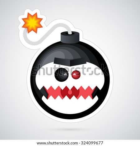 Vector illustration. Unusual funny cartoon bomb with white background. Colorful, creative and modern character for advertising, poster, banner, web and flyer.