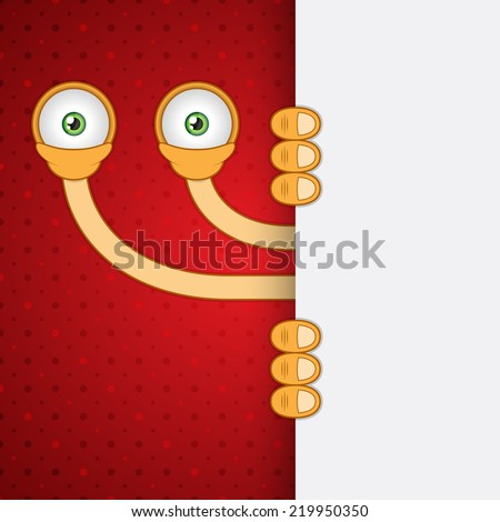 Vector illustration. Unusual funny orange cartoon alien eyes with red dots background. Closeup. - stock vector