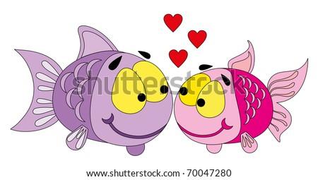 Vector illustration. Valentine love fish. - stock vector
