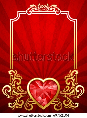 Vector illustration - Valentine's day background with gems - stock vector