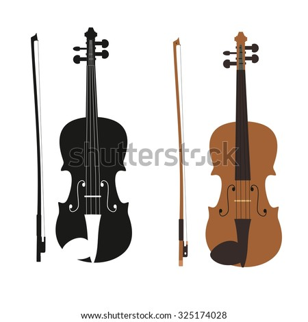 Vector illustration - vector violin with fiddle stick. Violin with bow silhouette on transparent background. - stock vector