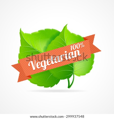 Vector illustration vegan label. Designation of vegetarian dishes in the restaurant menu and vegetarian products - stock vector