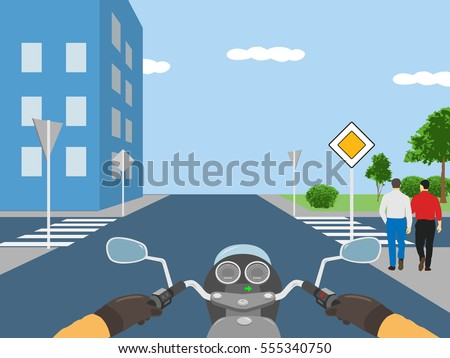 Vector illustration - view from motorbike driver