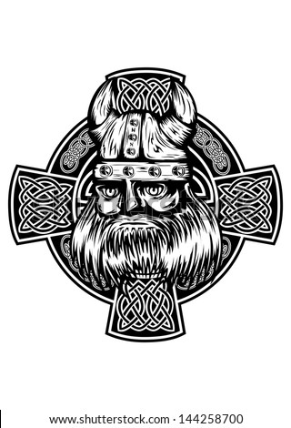 Vector illustration viking and celtic cross - stock vector