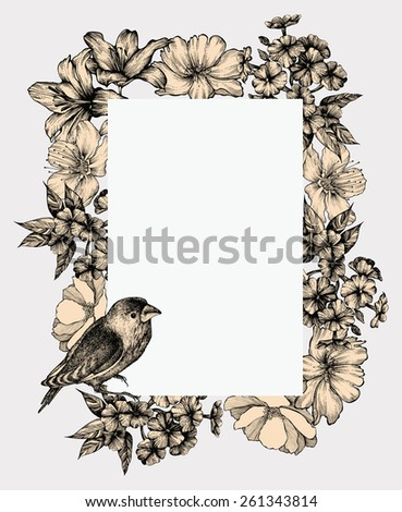 Vector illustration. Vintage frame with blooming flowers and birds, hand-drawing. - stock vector