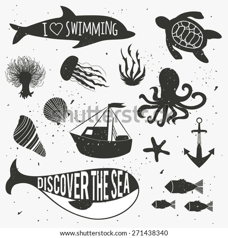 Vector illustration. Vintage hand drawn nautical set with plants, dolphin, whale, octopus, jellyfish, algae, starfish, boat, seashells, ship silhouettes - stock vector