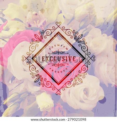 Vector illustration - Vintage logo emblem with flourishes calligraphic elegant ornament frame on a flowers background - stock vector