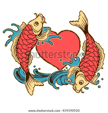 vector illustration vintage tattoo of japanese fish with heart and water