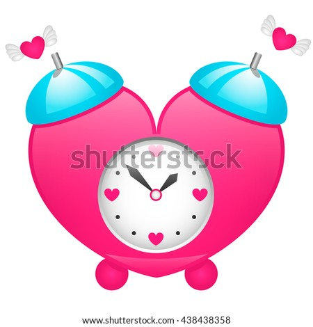 vector illustration volume clock time for love Pink alarm clock in the shape of a heart with small hearts and wings - stock vector