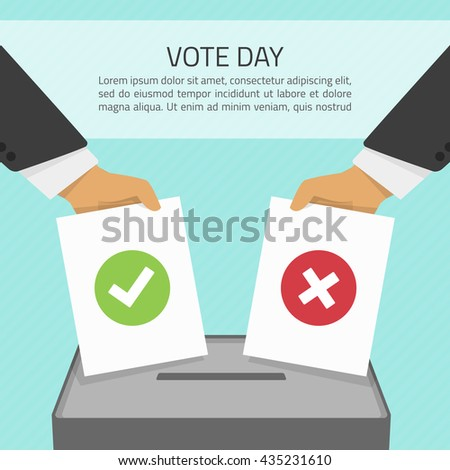 Vector illustration voting concept - hand putting voting paper in the ballot box. Hand casting a vote. Vote ballot in hand with box in flat style. Infographics concept vote pros and cons. - stock vector